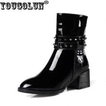 -YOUGOLUN Women Ankle Boots Genuine Patent Leather Autumn Winter Black Rivets Pointed toe Mid Square Heel Shoes #Y-170 on JD