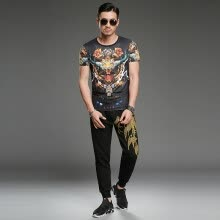-SHUYI Summer Retro Fashion T - shirt Male Personality Tiger Head Printing Short - Sleeved Compassionate Cotton T - shirt on JD