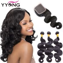 -Brazilian Hair Weave Bundles With Closure 8A Brazillian Virgin Hair Body Wave With Lace Closure YYONG Hair Wholesale Free Shipping on JD