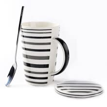 -Porcelain soul ceramic tape with spoon cups simple coffee cups large capacity creative personality couple cups mugs line life white thread on JD