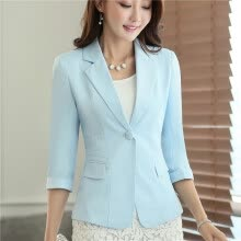 875061819-Womens Casual Work Office Blazer Jacket 3/4 Sleeve Notched Collar Single Button Pockets Design Spring Fall Slim Lady Outwear on JD