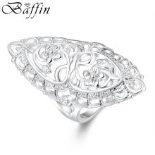 -Hot Fashion Vintage Big Hollow Ring Silver Plated Statement Ring Jewelry For Women Wedding Party Accessories on JD