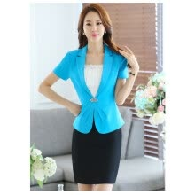 -Summer Elegant Business Formal Office Blaser Women Short-Sleeve Blazer Crystal Button Ladies Jackets Sky Blue Black Rose Navy Bl on JD