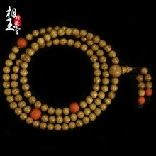 -Phase Yutang  Gold silk Nanmu hand string 108 South red braceletBuddha beads necklace male and female couple models on JD