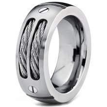 -Hpolw 8MM Men's Stainless Ring Wedding Band with Stainless Steel Cables and Screw Design Sizes 6 to 15 Punk Style Accessories on JD