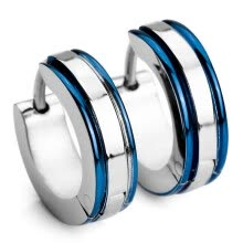 -Men's Stainless Steel Stud Hoop huggie Earrings Silver Tone Green Striped on JD