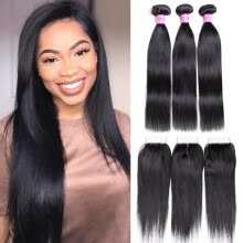 -Wholesale Natural Black Virgin Hair Straight With Closure 3 Bundles Human Hair Weave Straight With 4*4 Lace closure on JD