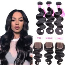 -Bling Hair Brazilian Virgin Hair Body Wave 3 Bundles with Closure Free/Middle/Three  7A Grade 100% Unprocessed Human Hair Weave on JD