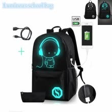 -Fashion Noctilucent Men's Backpack Anime Luminous Backpack Teenagers Men Women's Student Cartoon School Bags Casual Backpack on JD