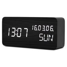 -LED Digital Alarm Clock Wooden Voice Control Table Clock Calendar Week LED Display Desk Clock USB Power Travel Clock on JD