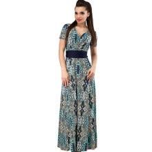 fa8a574c490 COCOEPPS Summer Fashionable Women 2XL Plus Size Sashes Print Long Dress  Elegant Vintage V-neck Floor-Length Maxi Dresses Clothing