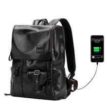 ffc6a88a76 Men Fashion External USB Charge Antitheft Backpack Waterproof Leather  Travel Bag Notebook Rucksack for 14 Inch Laptop Mochilas