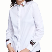 875061821-Butterfly pattern embroidered white cotton shirt on JD