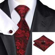 -N-0314 Vogue Men Silk Tie Set Red Paisley Necktie Handkerchief Cufflinks Set Ties For Men Formal Wedding Business wholesale on JD