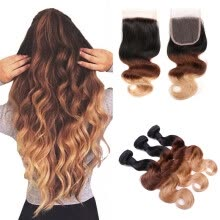 -Ombre hair with Lace Closure 8A Ombre Body Wave with Closure 4*4 Human Hair Virgin Malaysiann Lace Closure 1B/4/27 Good Quality on JD