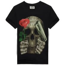 875061884-MEN BONE Mens T-shirt 3D printing skull  With short sleeves for Fashionable man on JD