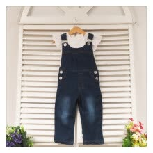 -New Baby Girls Clothing Set White Top T-Shirt DenimJeans Bib 2Pcs/Suit on JD