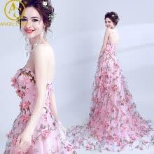 Robe De Soiree Longue Long Tulle Evening Dress Party Vestido De Festa 3D  Flowers A-line Elegant Pink Prom Gown Abendkleider 4947c9cea8d9