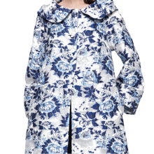 875061834-Floral pattern embroidered white overcoat on JD