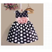 -Hot Baby Kids Girls Party Wedding Polka Dot Flower Gown Formal Dress 2-7Y on JD