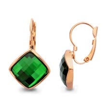 -Yoursfs® 18K Rose Gold Plated Colorful Clip Earrings Use Green Austrian Crystal Fashion Jewelry on JD