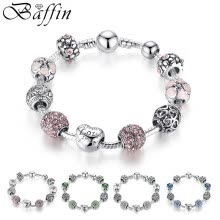 -Baffin Antique Silver Charm Beads Bracelet & Bangle with Love and Flower Crystal Ball Women Wedding Valentine's Day Gift on JD