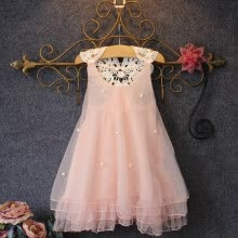 dresses-Baby Girls Party Lace Tulle Flower Gown Backless Prom Bridesmaid Dress Clothes on JD