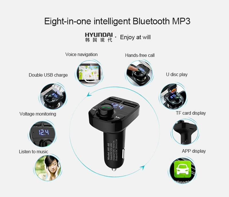 Shop Hyundai HY-82 Car Cigarette Lighter MP3 Player and Charger, Black Online from Best Car Electronic Accessories on JD.com Global Site - Joybuy.com