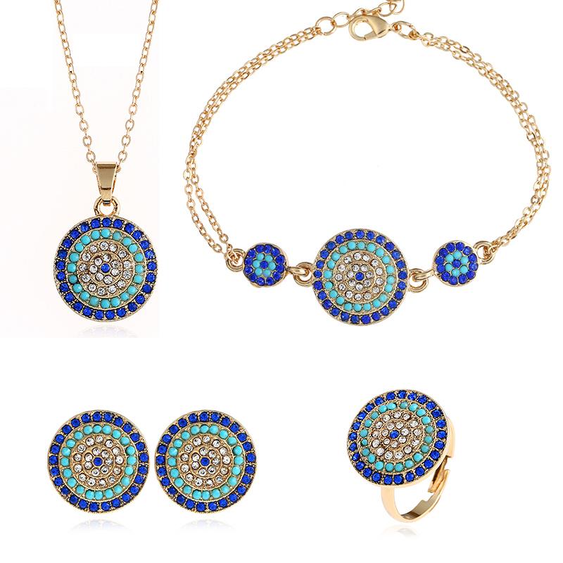 Fashion Women Circle Rhinestone Necklace Earrings Ring Pendants Jewelry Set HK