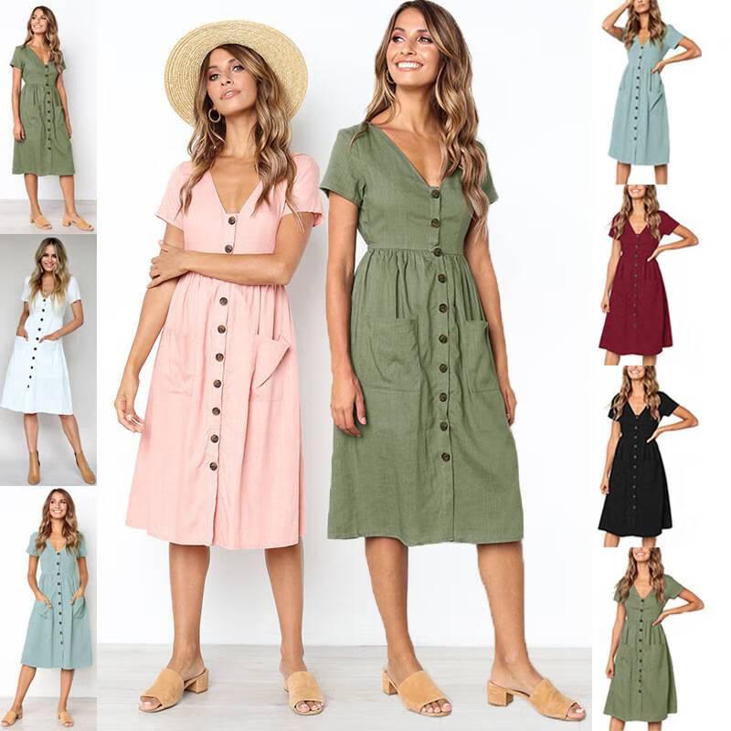 d04fc6ae19 Shop Womens Holiday Strappy Button Pocket Ladies Summer Beach Midi ...