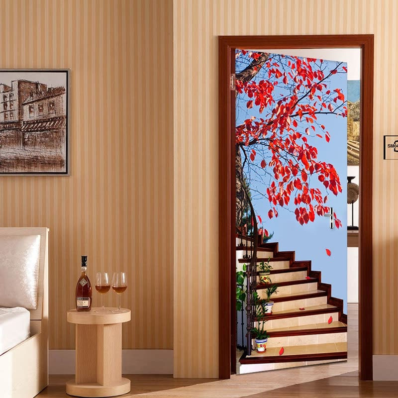 Shop 3d Stereo Stairs Red Tree Photo Wallpaper Living Room