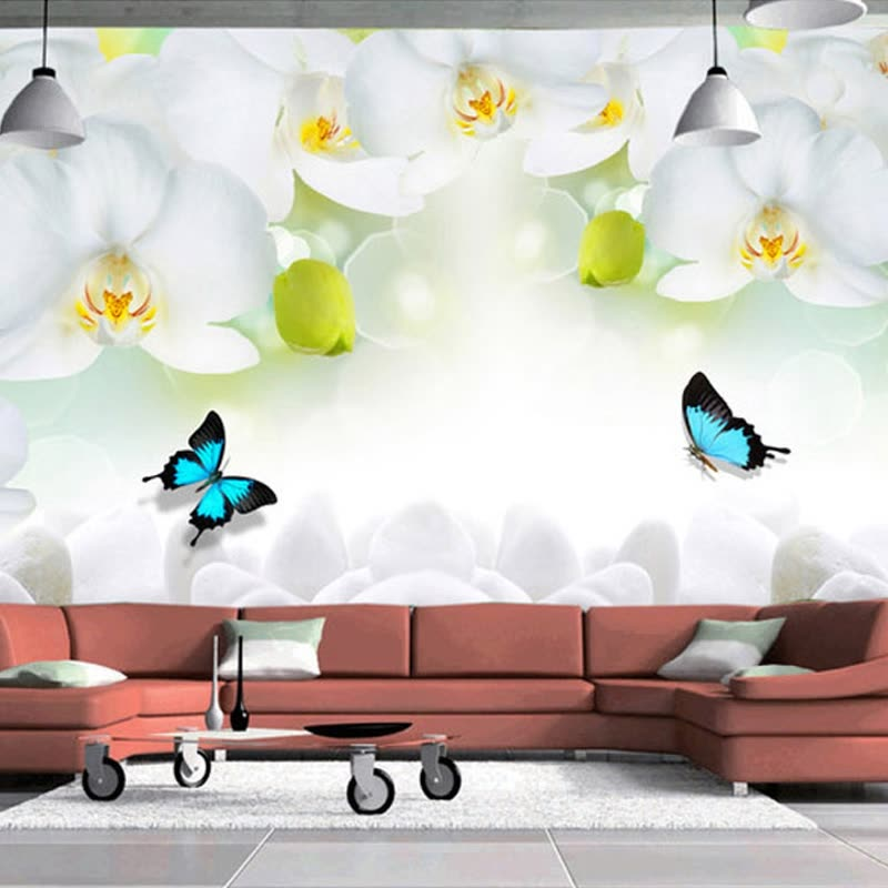 Shop Modern Simple White Flowers Butterfly Photo Wallpaper 3d Wall Mural Living Room Tv Sofa Backdrop Wall Painting Classic Mural 3 D Online From Best Wall Stickers Murals On Jd Com Global