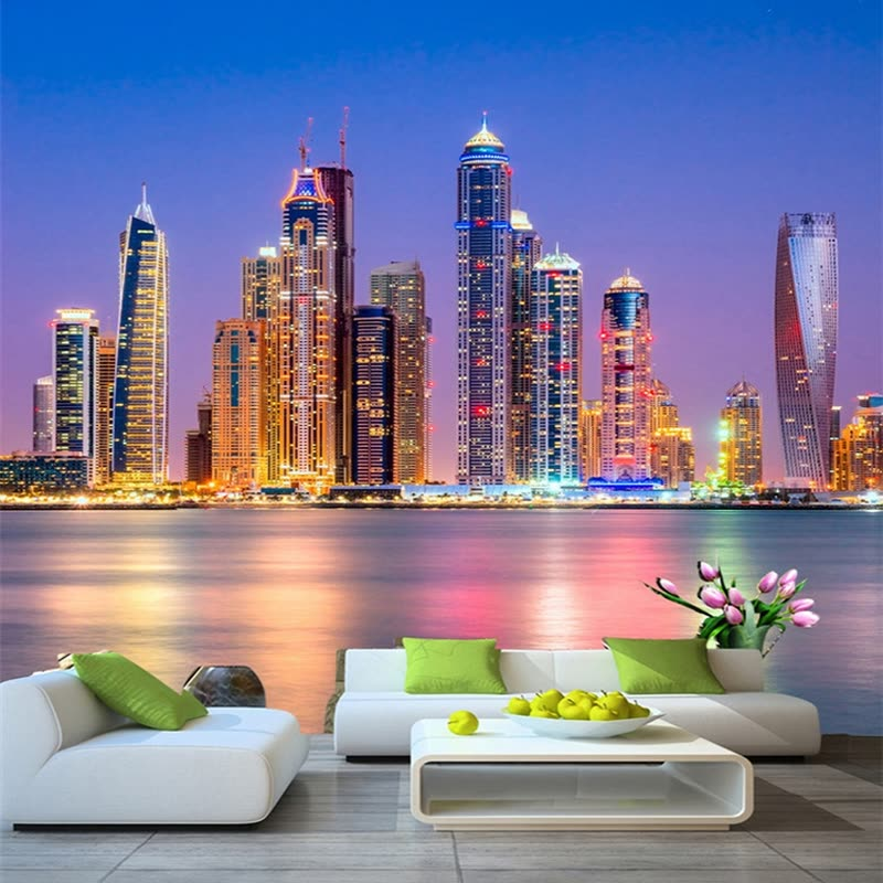 Shop Custom 3d Wall Mural Wallpaper Beautiful Dubai City Night