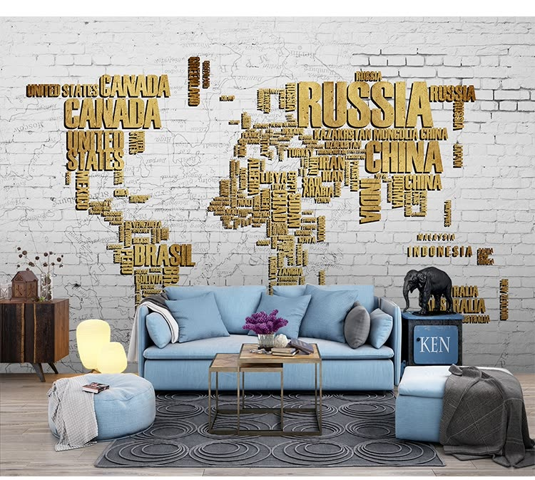 Shop 3d Photo Wallpaper Living Room Tv Wall Background World Map