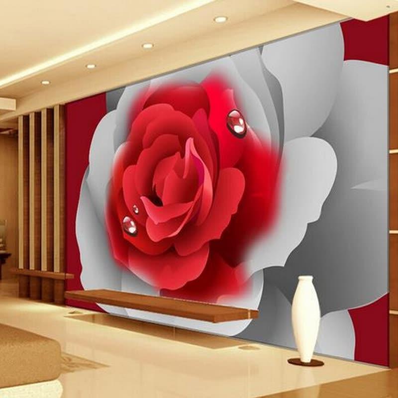 Shop Custom 3d Photo Wallpaper 3d Stereoscopic Romantic Red