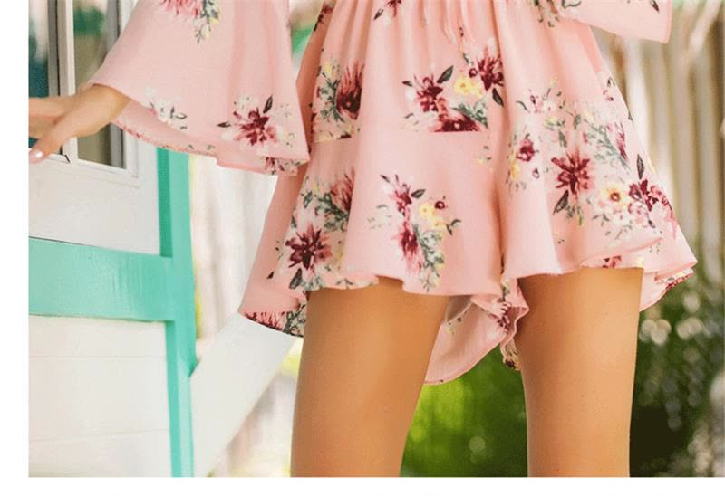cc9ed6450bd2 Shop BURDULLY 2018 Summer Rompers Womens Jumpsuit Shorts Pink Floral ...