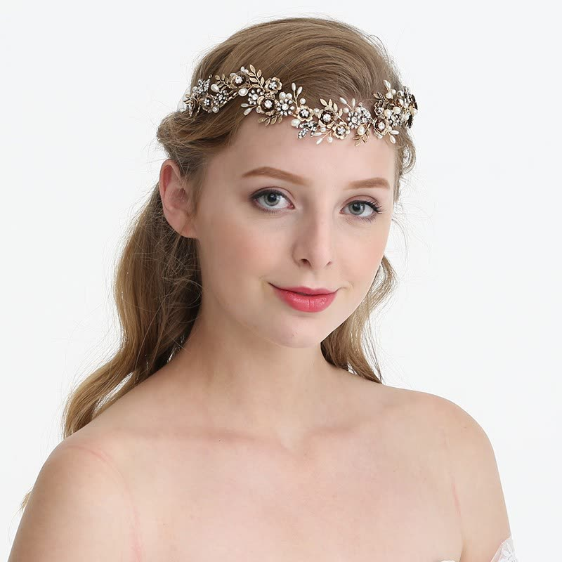 Shop Jonnafe Vintage Bridal Hair Band Tiara Gold Flower Leaf ... bc5a47fe491
