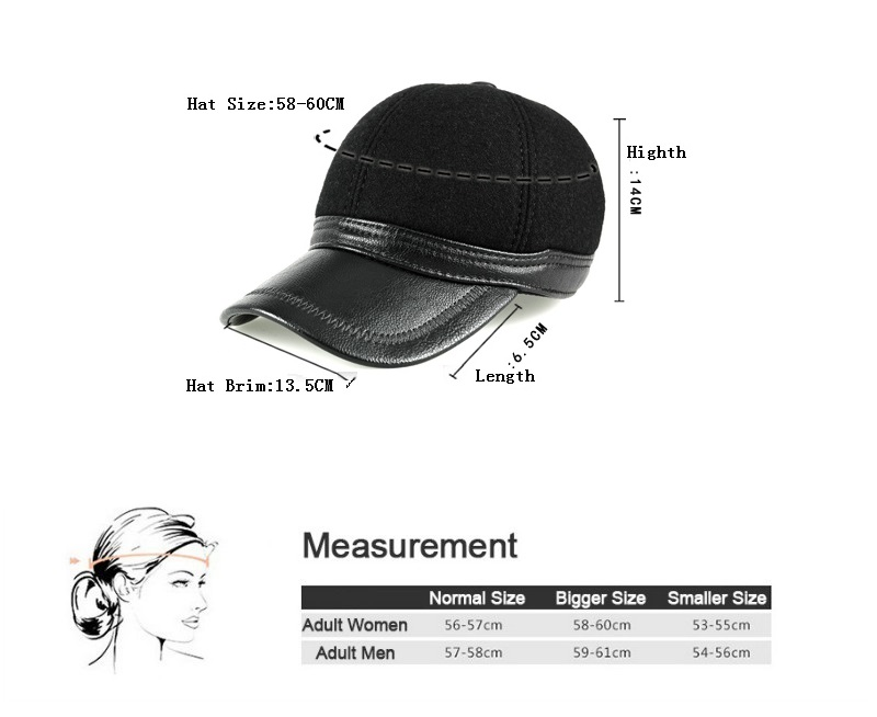 Real leather protect ears men/'s cap baseball hat outdoor leisure adjusted hat