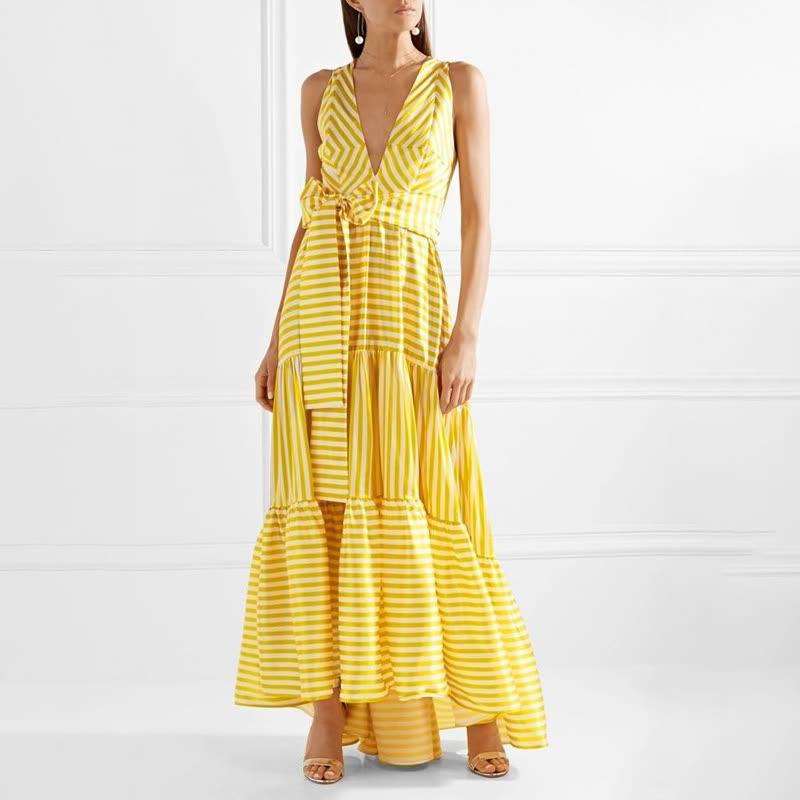 Shop Striped Bohemian Maxi Dresses Women Sleeveless Deep V Neck Lace ... 3becf7cb5
