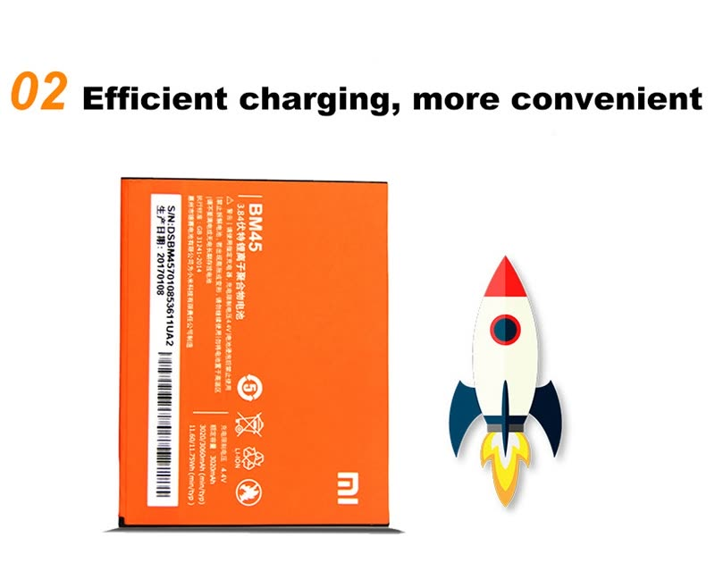 Original Xiaomi Redmi Note 2 Lithium Polymer Battery Cell 3020mAh BM45 3.7V Rechargable Batteries Over-charging Protection