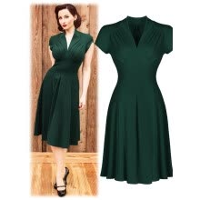 New Fashion Style Summer Women A Line Dress Sexy V Neck Short Sleeve  Pleated Casual Solid knee Length Dress 0538a2a49cc0