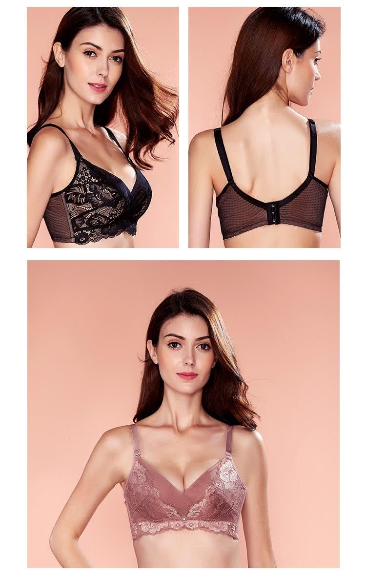 92519eacfa0 Shop Ou Difen no steel ring bra lace gathering adjustment type 3 4 ...