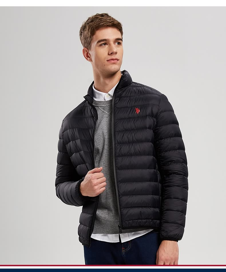 Shop US POLO ASSN. Men's Down Jacket Short Stand Collar Slim